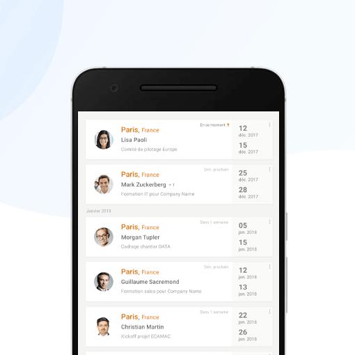Hubtobee - Flux des déplacements pros sur mobile